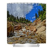 Waterfall In The Rockies Shower Curtain