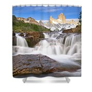 Los Glaciares Waterfall Shower Curtain by Yva Momatiuk John Eastcott