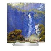 Waterfall New Zealand Shower Curtain