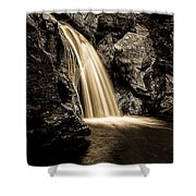 Waterfall Stowe Vermont Sepia Tone Shower Curtain