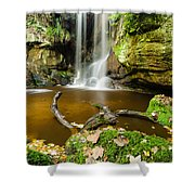 Waterfall With Autumn Leaves Shower Curtain