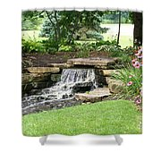 Waterfall With Coneflowers Shower Curtain