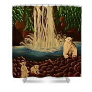 Waterfall With Polar Bears Shower Curtain
