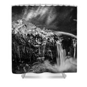 Waterfalls Childs National Park Painted Bw   Shower Curtain