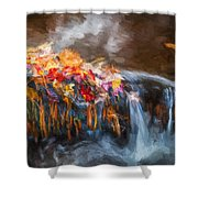 Waterfalls Childs National Park Painted  Shower Curtain