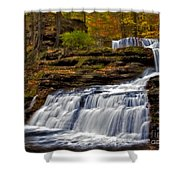Waterfalls In The Fall Shower Curtain by Susan Candelario