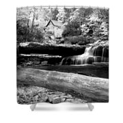 Waterfalls Mill Black N White Shower Curtain