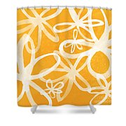 Waterflowers- Orange And White Shower Curtain