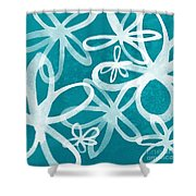 Waterflowers- Teal And White Shower Curtain by Linda Woods
