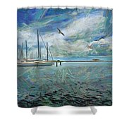 Waterfront View  Shower Curtain