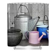Watering Cans And Buckets Shower Curtain