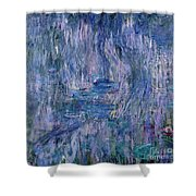 Waterlilies And Reflections Of A Willow Tree Shower Curtain