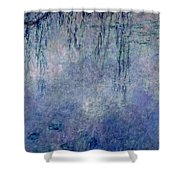 Waterlilies Two Weeping Willows Shower Curtain