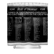 Waterloo Roll Of Honor 1914 1918 Shower Curtain