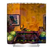 Watermelons On The Window Sill Shower Curtain