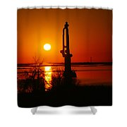 Waterpump In The Sunrise Shower Curtain by Jeff Swan