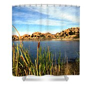 Watson Lake Shower Curtain by Kurt Van Wagner
