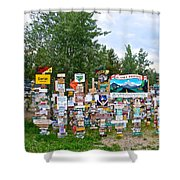 Watson Lake Sign Forest Along Alaska Highway In  Yukon-canada Shower Curtain