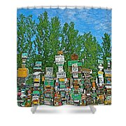 Watson Lake Sign Forest-yt Shower Curtain by Ruth Hager