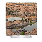 Watson Lake Sunset Shower Curtain by Angie Schutt