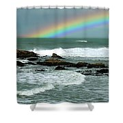Wave And A Rainbow Shower Curtain