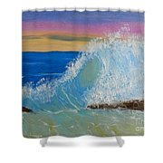 Wave At Sunrise Shower Curtain