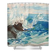 Wave At Sunset Beach Shower Curtain