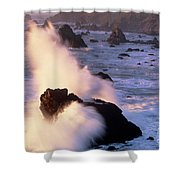 Wave Crashing On Sea Mount California Coast Shower Curtain