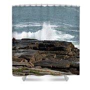 Wave Hitting Rock Shower Curtain