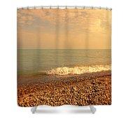Wave On Rocky Beach Shower Curtain