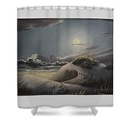 Waves And  Moonlight Shower Curtain