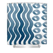 Waves And Pebbles- Abstract Watercolor In Indigo And White Shower Curtain by Linda Woods
