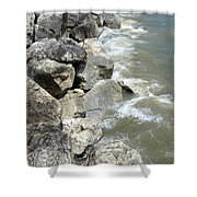Waves And Rocks 6 Shower Curtain