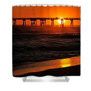 Waves At Sunset Shower Curtain