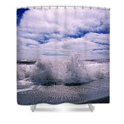 Waves Breaking At The Coast, Iceland Shower Curtain