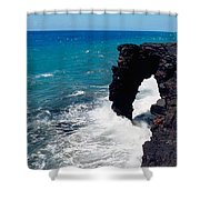 Waves Breaking On Rocks, Hawaii Shower Curtain
