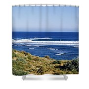 Waves Breaking On The Beach, Western Shower Curtain