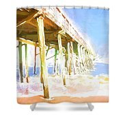 Waves By The Pier Shower Curtain