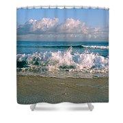 Waves Crashing On The Beach, Varadero Shower Curtain