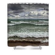 Waves Crashing On The Shore In Sturgeon Bay At Wilderness State Park Shower Curtain