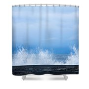 Waves Crashing Over Seawall In Scarborough Shower Curtain