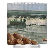 Waves Crashing Shower Curtain