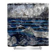 Waves - Ocean - Steel Engraving Shower Curtain