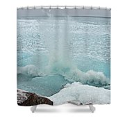 Waves Of Pancake Ice Crashing Ashore Shower Curtain