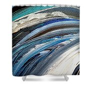 Textured Waves Of Blue Shower Curtain