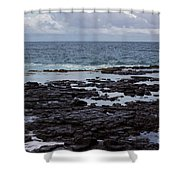 Waves Over  Rocks Shower Curtain