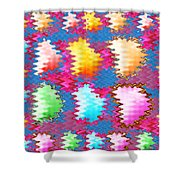 Waves Pattern Crystals Jewels Rose Flower Petals Shower Curtain