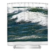 Waves Triptych Ll Shower Curtain