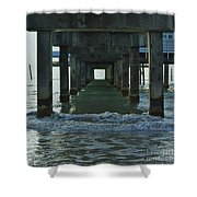 Waves Under The Clearwater Pier 60 Shower Curtain