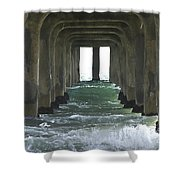 Waves Under The Pier Landscape Shower Curtain